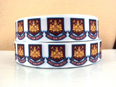 1 METRE OF WEST HAM UNITED FOOTBALL CLUB RIBBON SIZE 1 INCH HEADBANDS BOWS HAIR CLIPS